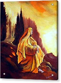 Jesus On The Mountain Acrylic Print by Julie Lamons