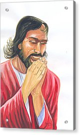 Jesus Praying Acrylic Print by Emmanuel Baliyanga