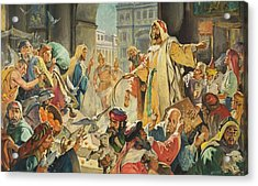 Jesus Removing The Money Lenders From The Temple Acrylic Print by James Edwin McConnell