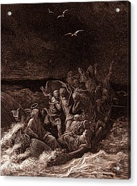 Jesus Stilling The Tempest Acrylic Print by Gustave Dore