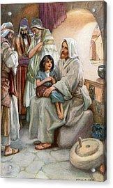 Jesus Teaching The People Acrylic Print by Arthur A Dixon