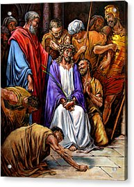 Jesus Tormented Acrylic Print by John Lautermilch
