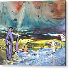 Jesus Walking On The Water Acrylic Print by Miki De Goodaboom
