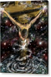 Acrylic Print featuring the digital art Jesus World by Darren Cannell