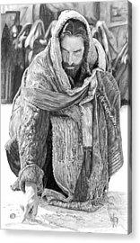 Jesus Writing In The Sand Acrylic Print