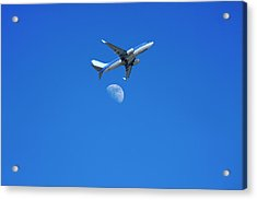 Jet Plane Flying Over The Moon Acrylic Print