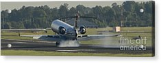 Jet Plane Landing On Runway With Tires Smoking Acrylic Print by David Oppenheimer