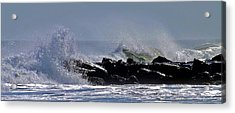 Jetty Breakers Acrylic Print by William Walker