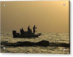 Jetty Fishing In Galveston Bay Acrylic Print by Robert Anschutz