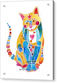 Jewel Colors Cat With Hearts N Stars Acrylic Print