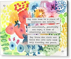 Jewish Home Blessing- Floral Watercolor Acrylic Print