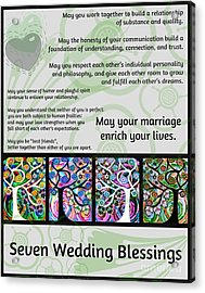 Jewish Seven Wedding Blessings Tree Of Life Hamsas Acrylic Print