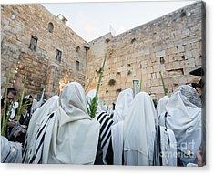 Jewish Sunrise Prayers At The Western Wall, Israel 10 Acrylic Print