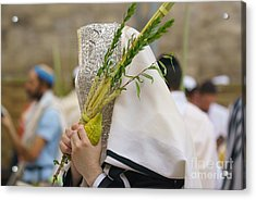 Jewish Sunrise Prayers At The Western Wall, Israel 5 Acrylic Print
