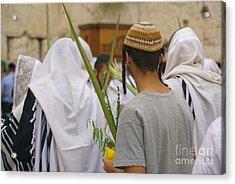 Jewish Sunrise Prayers At The Western Wall, Israel 8 Acrylic Print