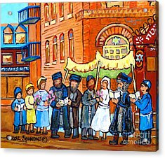 Jewish Wedding Under The Chupa Montreal Street Scene Bagg Synagogue Canadian Art Carole Spandau      Acrylic Print by Carole Spandau