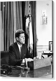 Jfk Addresses The Nation  Acrylic Print by War Is Hell Store