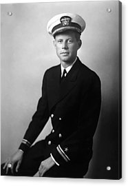 Jfk Wearing His Navy Uniform Painting Acrylic Print