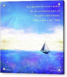 Acrylic Print featuring the digital art Perfect Day To Sail by Atousa Raissyan