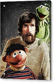 Jim Henson Together With Ernie And Kermit The Frog Acrylic Print by Taylan Apukovska