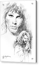 Jim Morrison Faces Acrylic Print by David Lloyd Glover