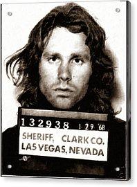 Jim Morrison Mug Shot 1968 Painting Sepia Acrylic Print