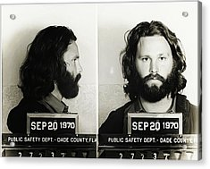 Jim Morrison Mugshot Acrylic Print by Bill Cannon