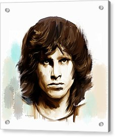 Acrylic Print featuring the painting Jim Morrison Stolen Dust by Iconic Images Art Gallery David Pucciarelli