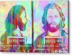 Jim Morrison Tie Dye Mug Shot Acrylic Print by Dan Sproul