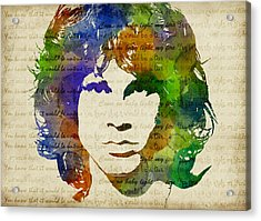 Jim Morrison Watercolor Acrylic Print by Mihaela Pater