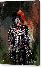 Acrylic Print featuring the painting Jimi  by Andrzej Szczerski
