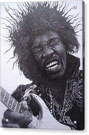 Jimi Hendrix Drawing Acrylic Print by Lana Cheng