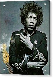 Jimi Hendrix, Fender Guitar Acrylic Print