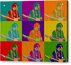 Jimi Hendrix In The Style Of Andy Warhol Acrylic Print