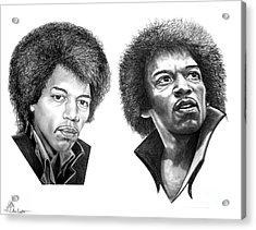Jimi Hendrix Acrylic Print by Murphy Elliott