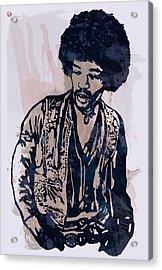 Jimi Hendrix Pop Stylised Art Sketch Poster Acrylic Print by Kim Wang