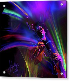 Acrylic Print featuring the painting Jimi Hendrix, Purple Haze by DC Langer
