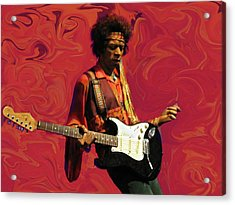 Acrylic Print featuring the photograph Jimi Hendrix Purple Haze Red by David Dehner