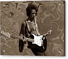Acrylic Print featuring the photograph Jimi Hendrix Purple Haze Sepia by David Dehner