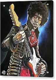 Jimi Hendrix Acrylic Print by Tom Carlton