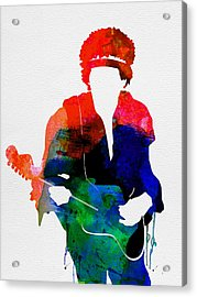 Jimi Watercolor Acrylic Print by Naxart Studio
