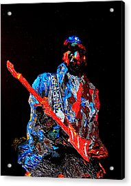 Jimi With Guitar Acrylic Print by Mike Aitken