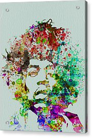 Jimmy Hendrix Watercolor Acrylic Print by Naxart Studio