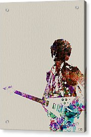 Jimmy Hendrix With Guitar Acrylic Print by Naxart Studio