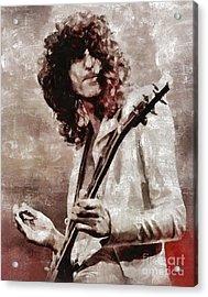 Jimmy Page By Mary Bassett Acrylic Print