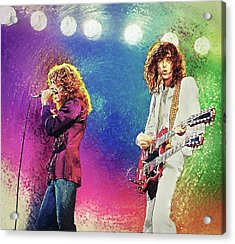 Acrylic Print featuring the digital art Jimmy Page - Robert Plant by Taylan Apukovska