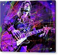 Jimmy Page Solos Acrylic Print by David Lloyd Glover