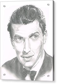 Acrylic Print featuring the drawing Jimmy Stewart by Andrew Gillette