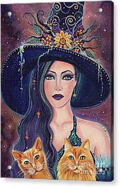 Jinx And Jazz Halloween Witch With Kitties Acrylic Print