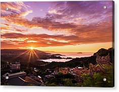 Acrylic Print featuring the photograph Jiufen Sunset by Geoffrey Lewis